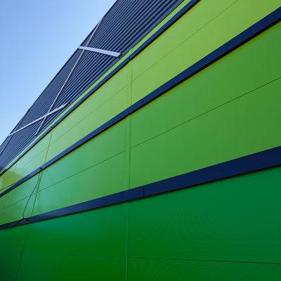 Gewerbe und Industrie Fassade Detail Aluminium Architekten Kleinknecht Leipzig